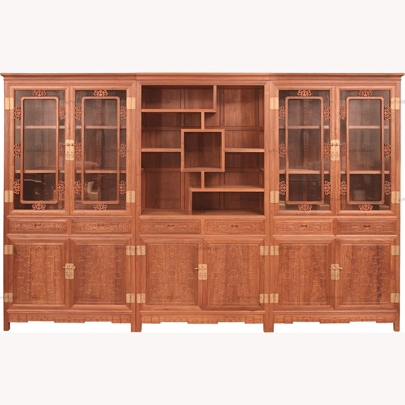 红木家具 办公家具 国标红木刺猬紫檀书柜明式三组合书柜