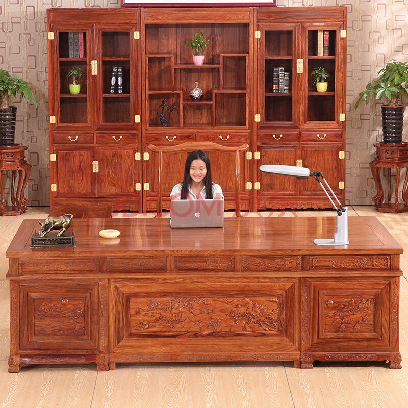 刺猬紫檀2.4米豪华办公台