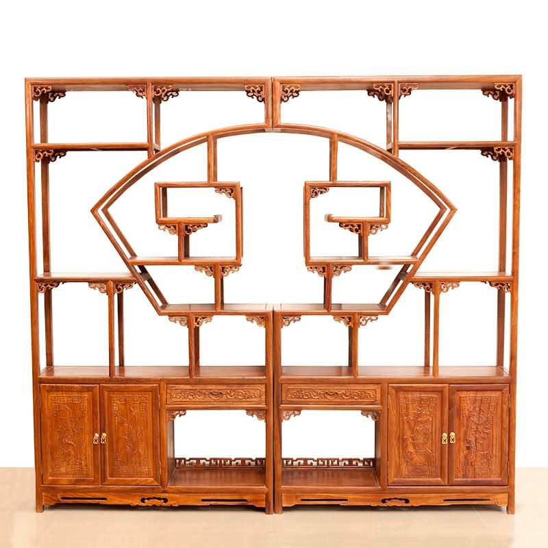 红木家具 实木家具 红木沙发 红木餐桌 红木床 刺猬紫檀 非洲花梨 缅甸花梨扇形博古架