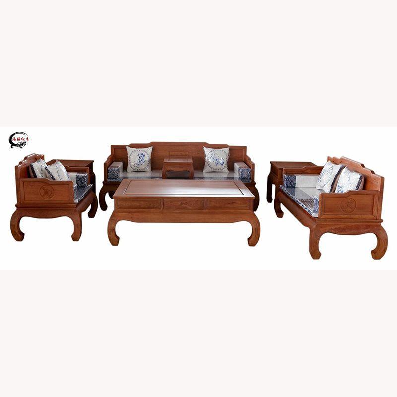 7件套红木家具 实木家具 红木沙发 刺猬紫檀 罗汉床沙发