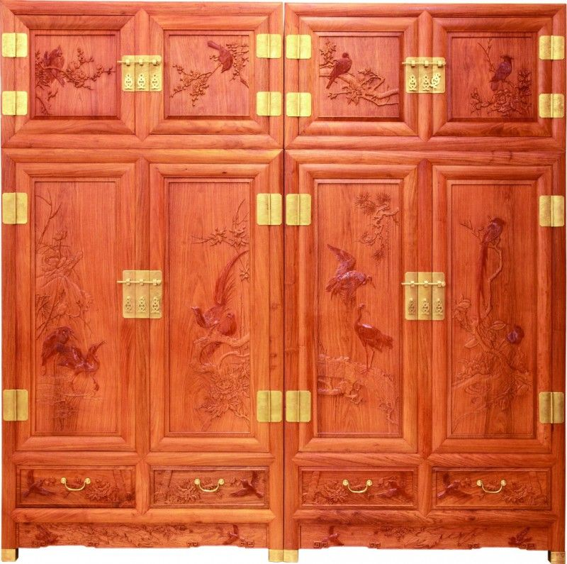 花鸟檀雕顶箱柜