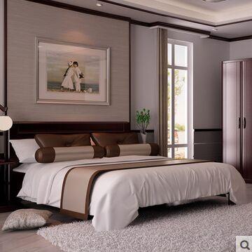 双叶雷竞技手机版全实木双人床水曲柳新中式床卧室雷竞技手机版婚床1.5米1.8米大床