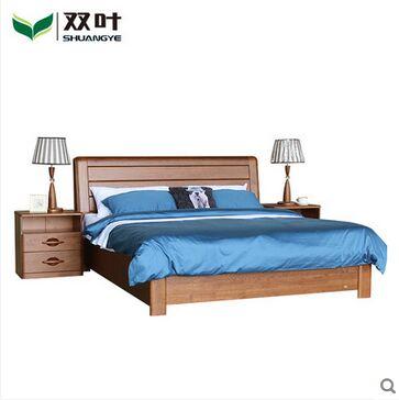 双叶家具实木床 实木水曲柳双人床 现代中式卧室1.5米1.8米大床