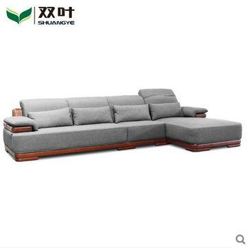 双叶实木客厅家具 实木沙发布艺沙发水曲柳木现代中式沙发贵妃榻