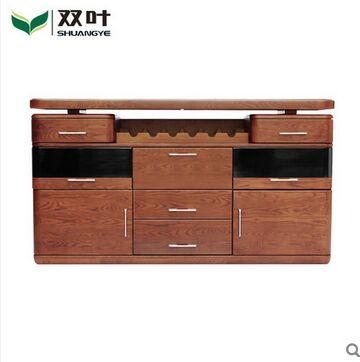 双叶家具 实木餐边柜带酒架抽屉可储物柜子 餐厅家具餐厅柜子