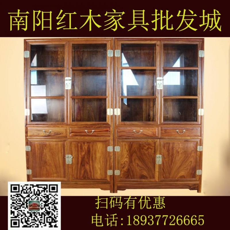 红木家具 实木家具 国标红木刺猬紫檀  明式素面书柜