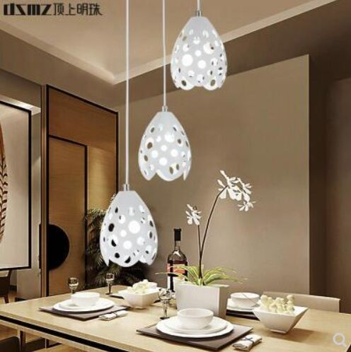 顶上明珠新款餐吊灯温馨浪漫圆形餐厅灯白色3头