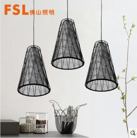 佛山照明 铁艺餐吊灯黑网灯罩3头E27灯头镂空设计餐厅