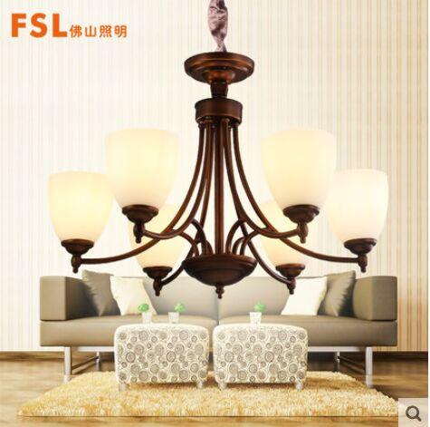 佛山照明 复式楼吊灯客厅灯欧式复古卧室餐厅美式乡村铁艺灯具
