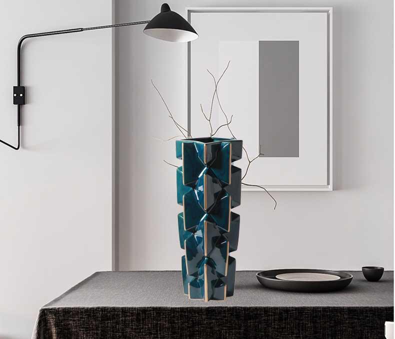 东方灯饰 ZT裂纹蓝色+金边陶瓷花瓶M338-BL