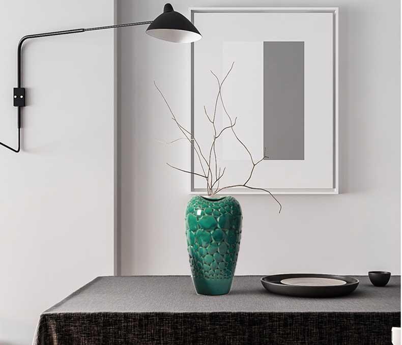 东方灯饰ZT裂纹绿色陶瓷花瓶M331-CGR