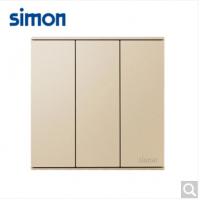 西蒙(SIMON)西蒙开关插座E6系列大板香槟金三开单控