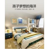 青少年蓝色卧室1.5板式床