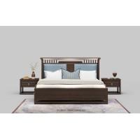 新中式蓝皮实木床