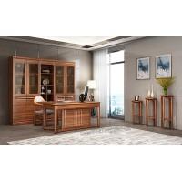 书房实木书桌花凳