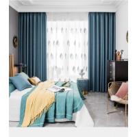 窗帘加厚布全遮光棉麻卧室遮阳隔热防晒轻奢风北欧简约
