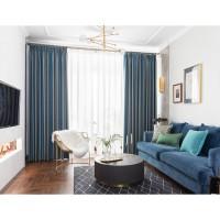 高端轻奢棉麻窗帘定制简约现代北欧纯色美式提花高精密客厅窗帘