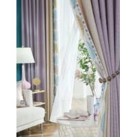 雪尼尔无缝拼接窗帘北欧简约法式美式紫色卧室遮光窗帘布成品定制