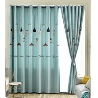 窗帘免打孔安装套装伸缩杆加厚客厅卧室遮光遮阳布