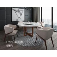 圆餐桌LT1001 布椅HK18-09