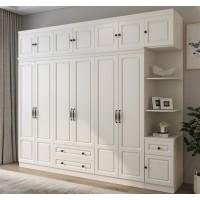 衣柜 现代简约卧室家具带转角边柜组合四门五门白色大衣橱