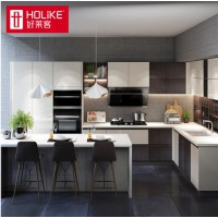 好莱客橱柜定制 UV高光厨柜门亮面整体厨房柜石英石台面定做 原态板 预付定金
