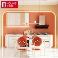 好莱客 整体橱柜定制 现代简约一字型厨柜 石英石台面 厨房家具定制 理想城系列 预付订金