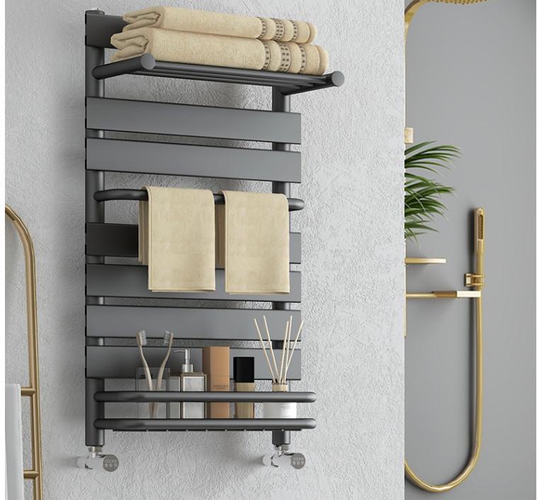 阿洛德小背篓卫生间暖气片散热器铜铝复合家用水暖散热片取暖器置物架 D款铜铝背篓-雅黑 0.8米高