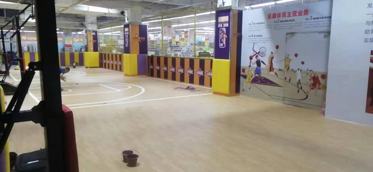吉林运动地板 枫木纹篮球场运动地胶批发